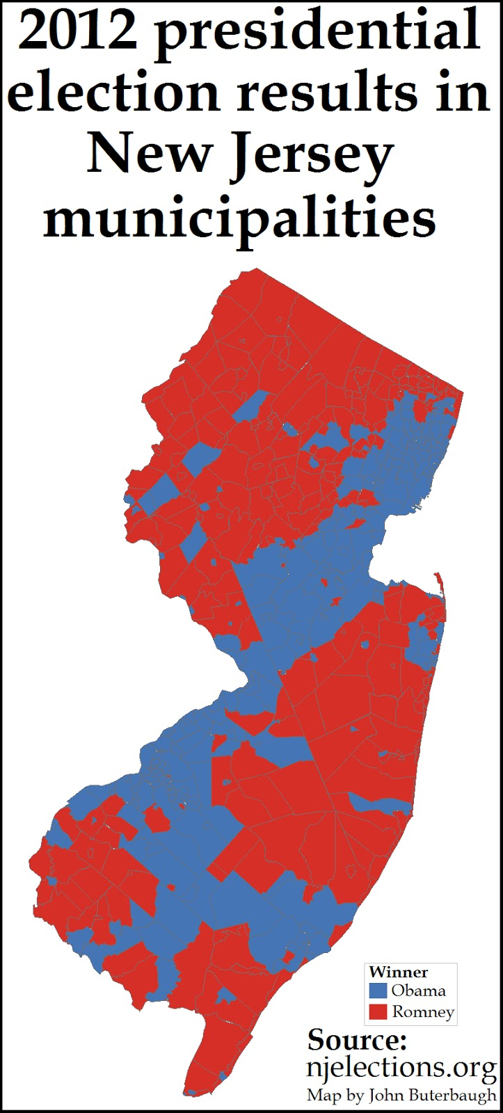 i decided to do a map of presidential election results in new jersey by municipality city town township borough village