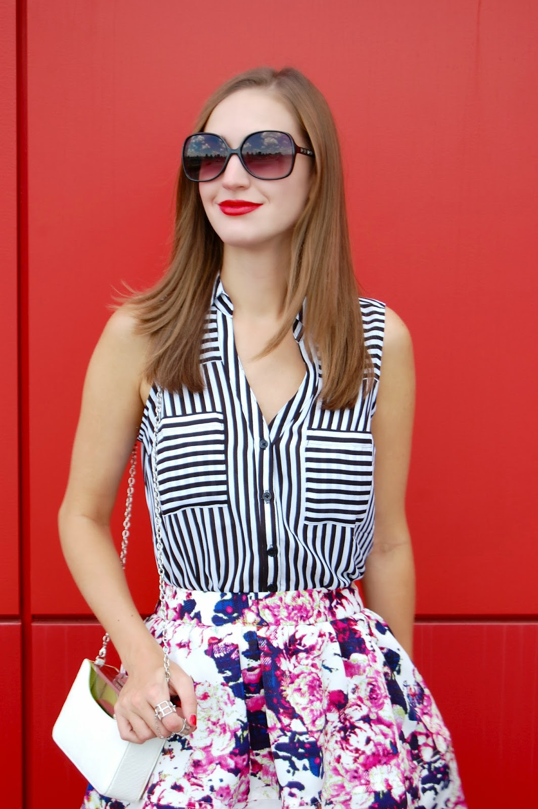 Wearing Express Striped Sleeveless Portofino Shirt, Express Floral Plaid High Waist Full Skirt, Pattern Mixing