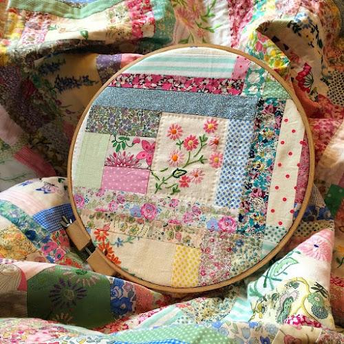 embroidery hoop textile art Henhouse Homemade vintage fabric