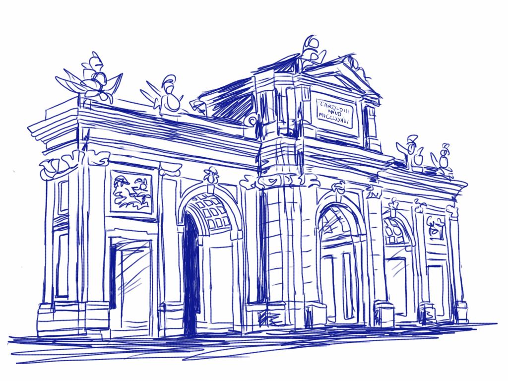 La puerta de alcal my little madrid - Dibujos de puertas ...
