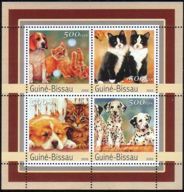 2003年ギニアビサウ共和国 ビーグル コーギー ダルメシアンと猫の切手シート