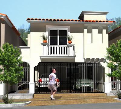 Fachada 2 de casa mexicana moderna en Residencial Valle Alto