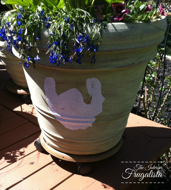 Adding French Typography Graphics to painted terracotta pots
