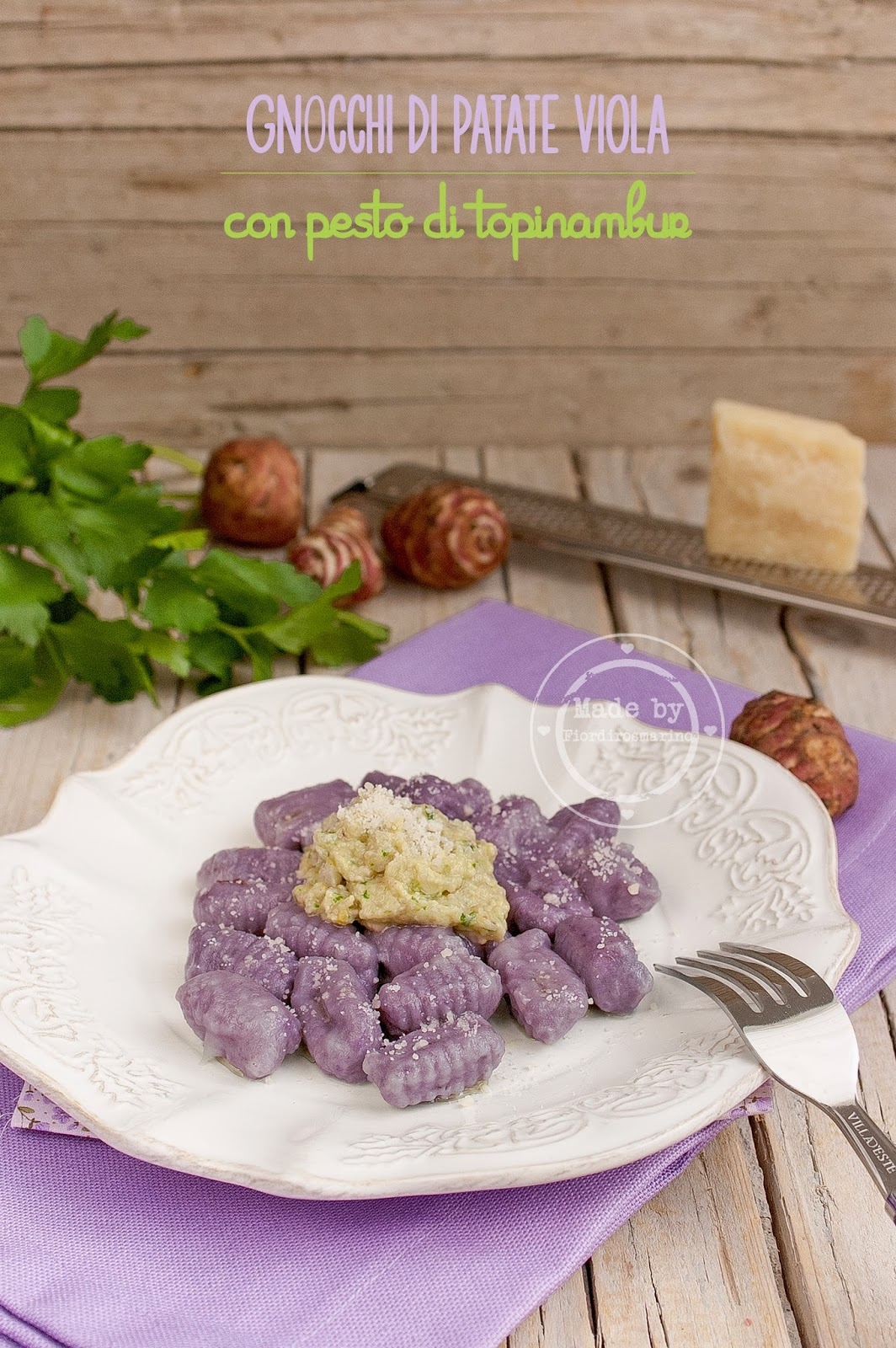 gnocchi di patate viola con pesto di topinambur