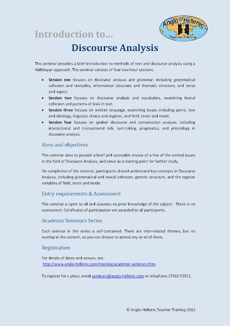 Anglo-Hellenic Teacher Training Introduction to Discourse Analysis