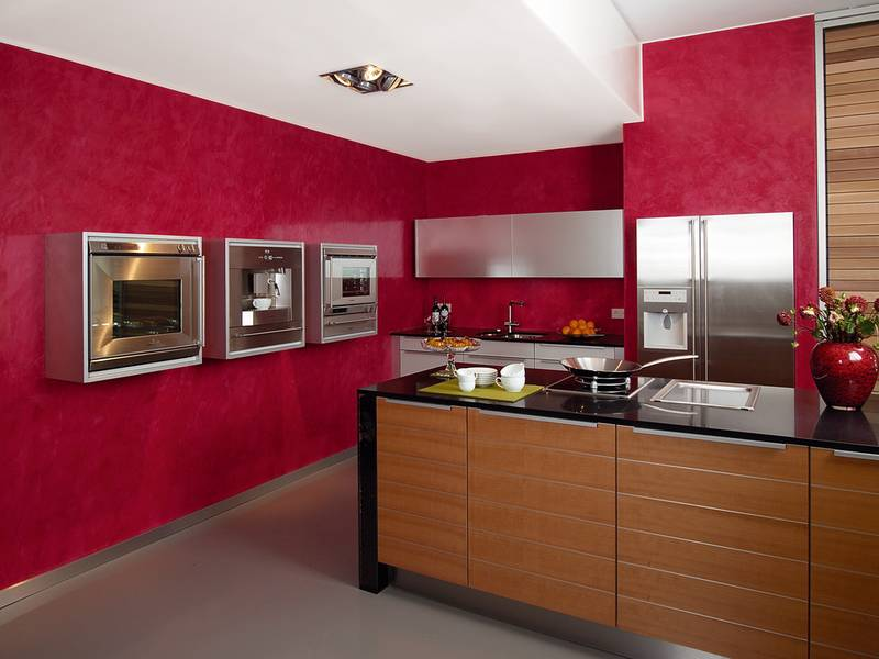Cocinas modernas color rojo colores en casa - Paredes para cocina ...