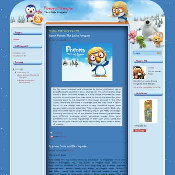 Pororo blogger template. blogger template free download