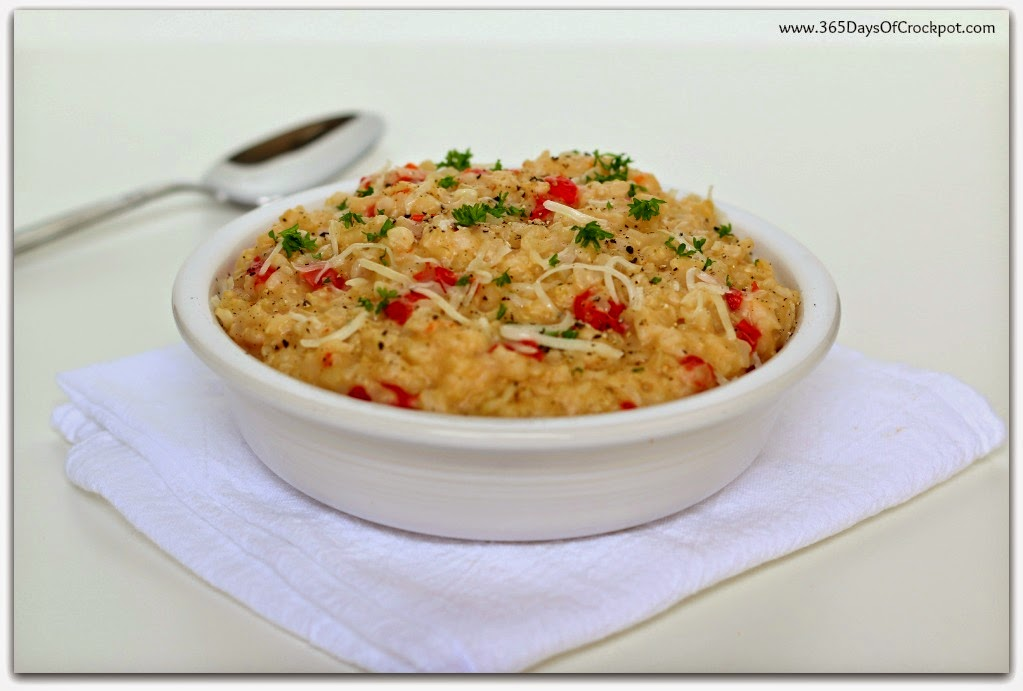 Slow Cooker Red Pepper Brown Rice Risotto (no stirring!)