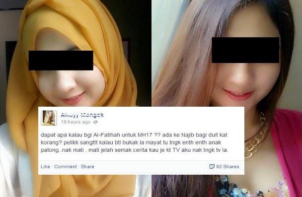 Awek Mulut Puaka hina mangsa nahas MH17 di facebook 6 Gambar