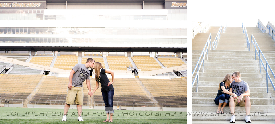Engagement photos at Purdue University in West Lafayette, Indiana