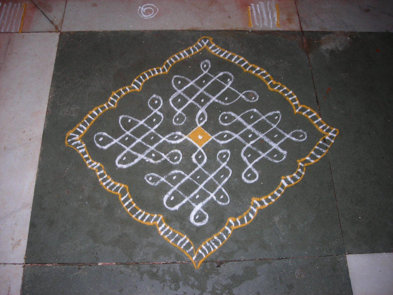 Simple kolam with dots | rangoli kolam designs with /sans dots, The