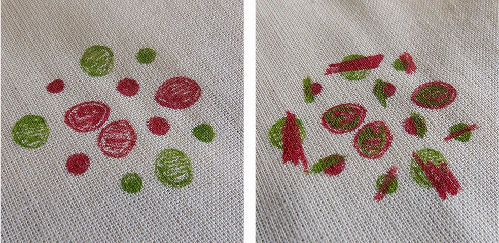 The permanent ink on cotton fabric