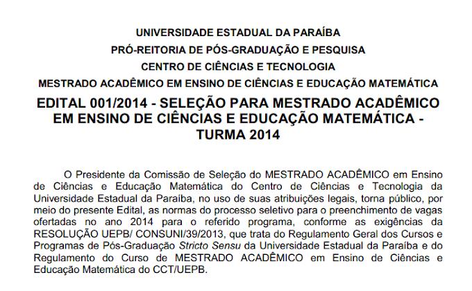 Inscrições abertas para Mestrado Acadêmico na UEPB