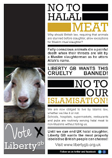 Liberty GB leaflet against halal meat and the Islamisation of Britain