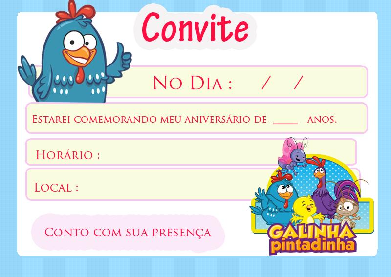 Convite Festa da Galinha Pintadinha
