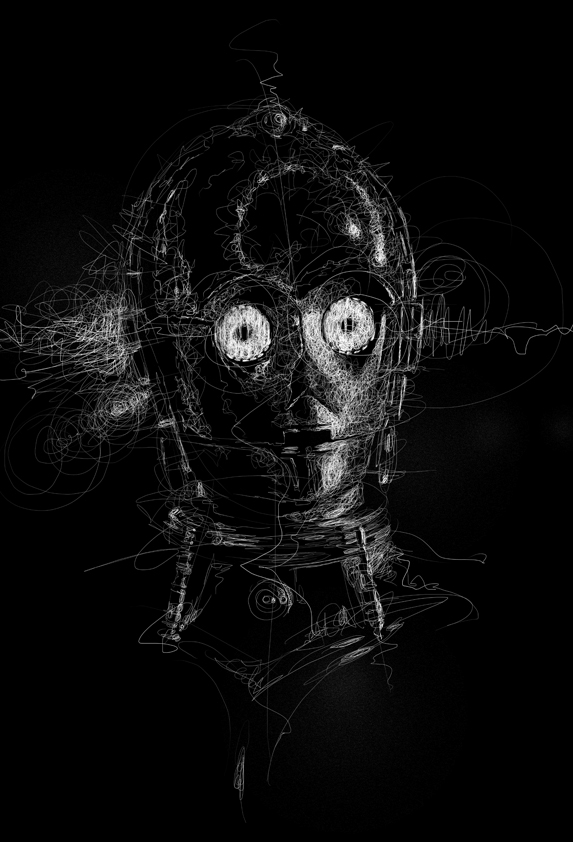 07-Star-Wars-C3PO-Vince-Low-Scribble-Drawing-Portraits-Super-Heroes-and-More-www-designstack-co