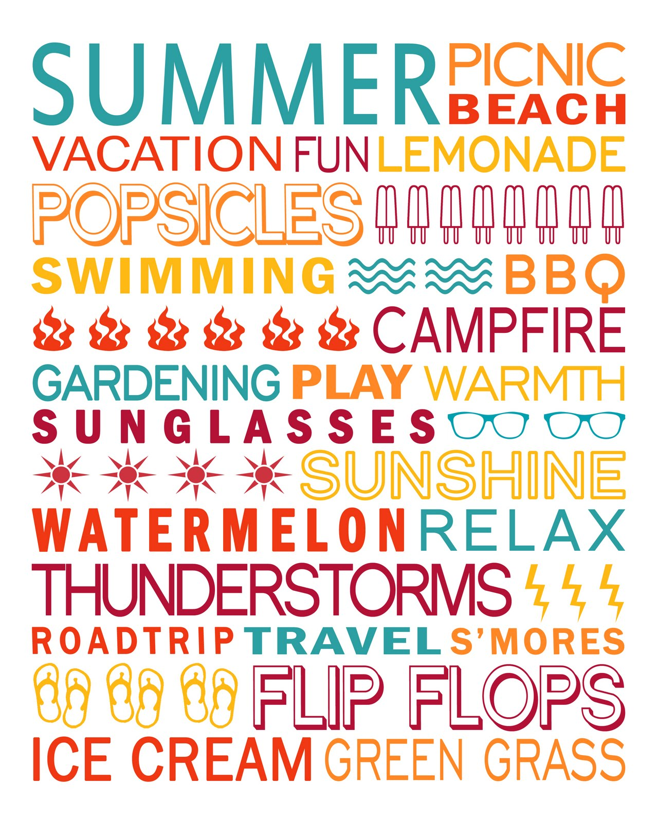 It is a photo of Punchy Free Summer Printables