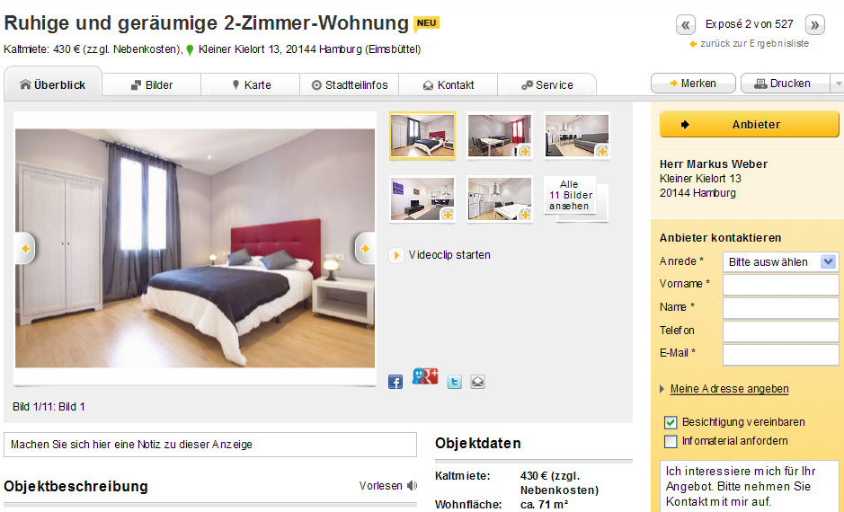 ruhige und ger umige 2 zimmer wohnung kleiner kielort 13 20144. Black Bedroom Furniture Sets. Home Design Ideas