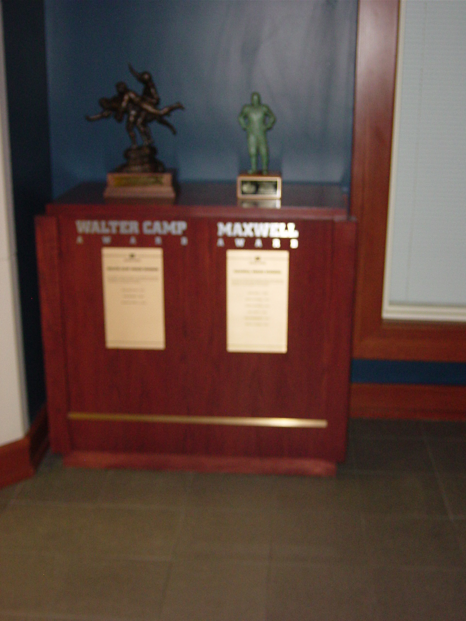 Walter Camp and Maxwell Trophies Notre Dame