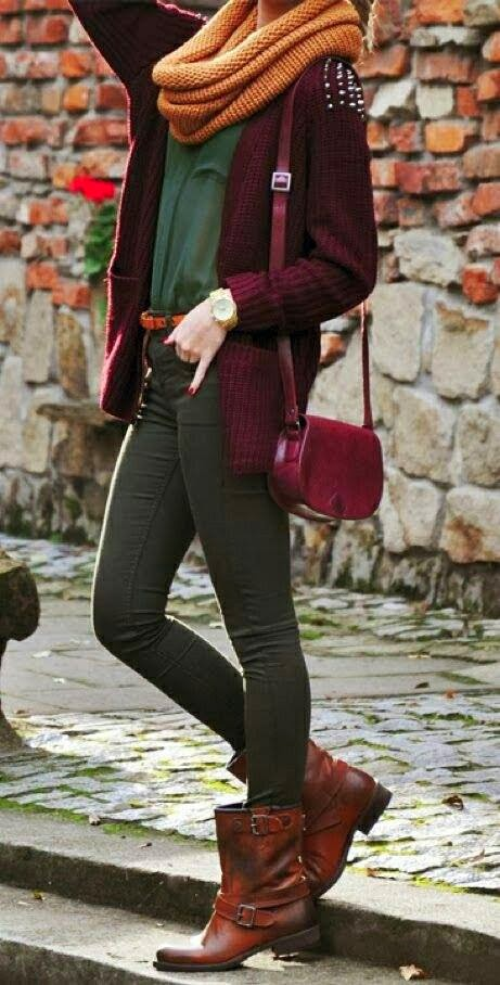 Gorgeous Circle Scarf and Sweater with Suitable Long Bag, Grey Pants and Green Blouse, Brown Boots