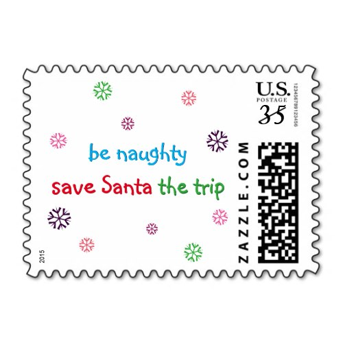 Be Naughty.. | Funny Christmas Holiday Postage Stamp
