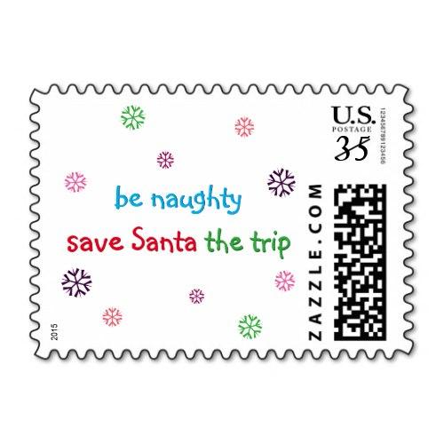 Be Naughty.. | Funny Christmas Holiday Postage Stamp