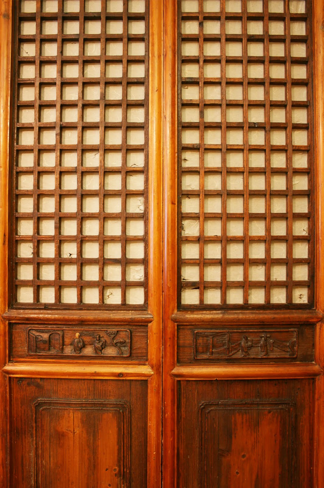 In the entry these antique Chinese doors are a great fit for my closet. All  we did was mount 2X4's stain to match the doors. My husband is very handy  for ... - Apartmentf15: Closet Doors