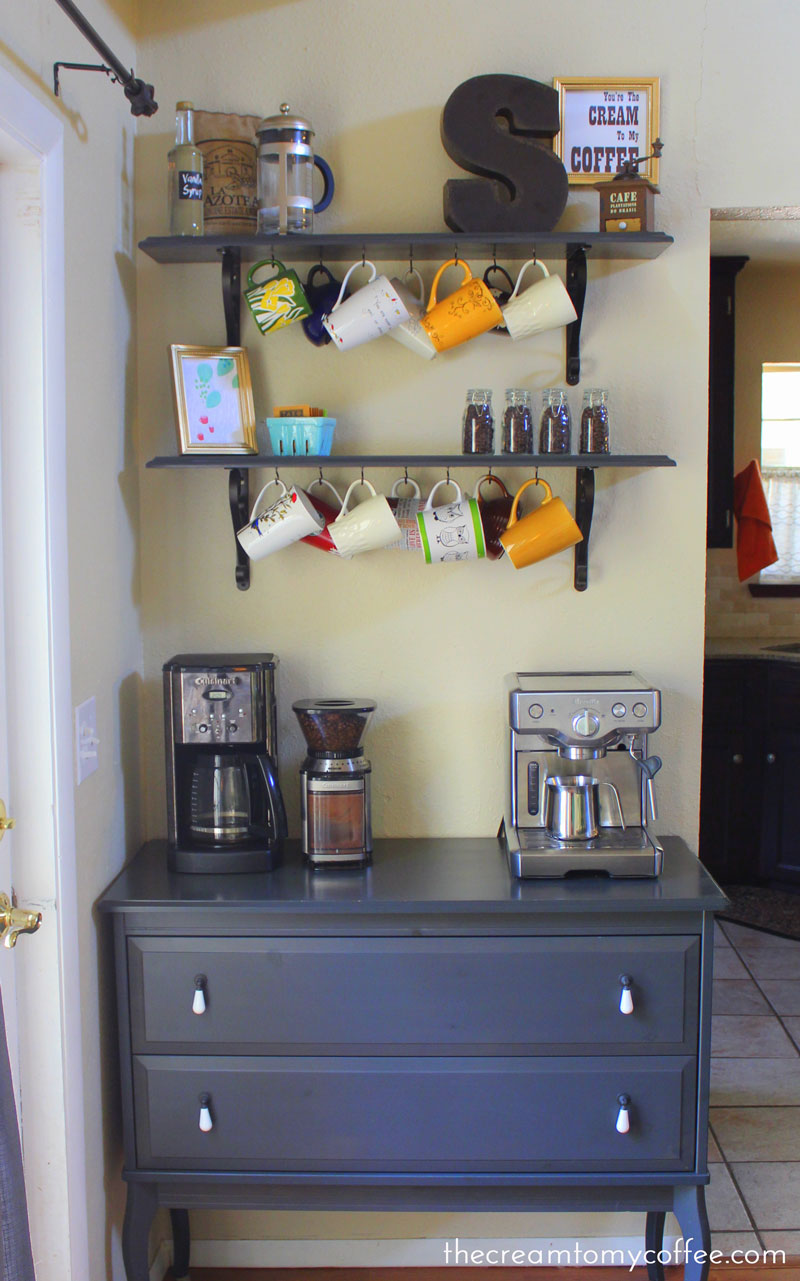 The coffee bar take 2 the cream to my coffee for Kitchen coffee bar ideas