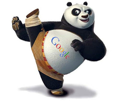 "A still of Kung Fu Panda with ""Google"" written across his belly."