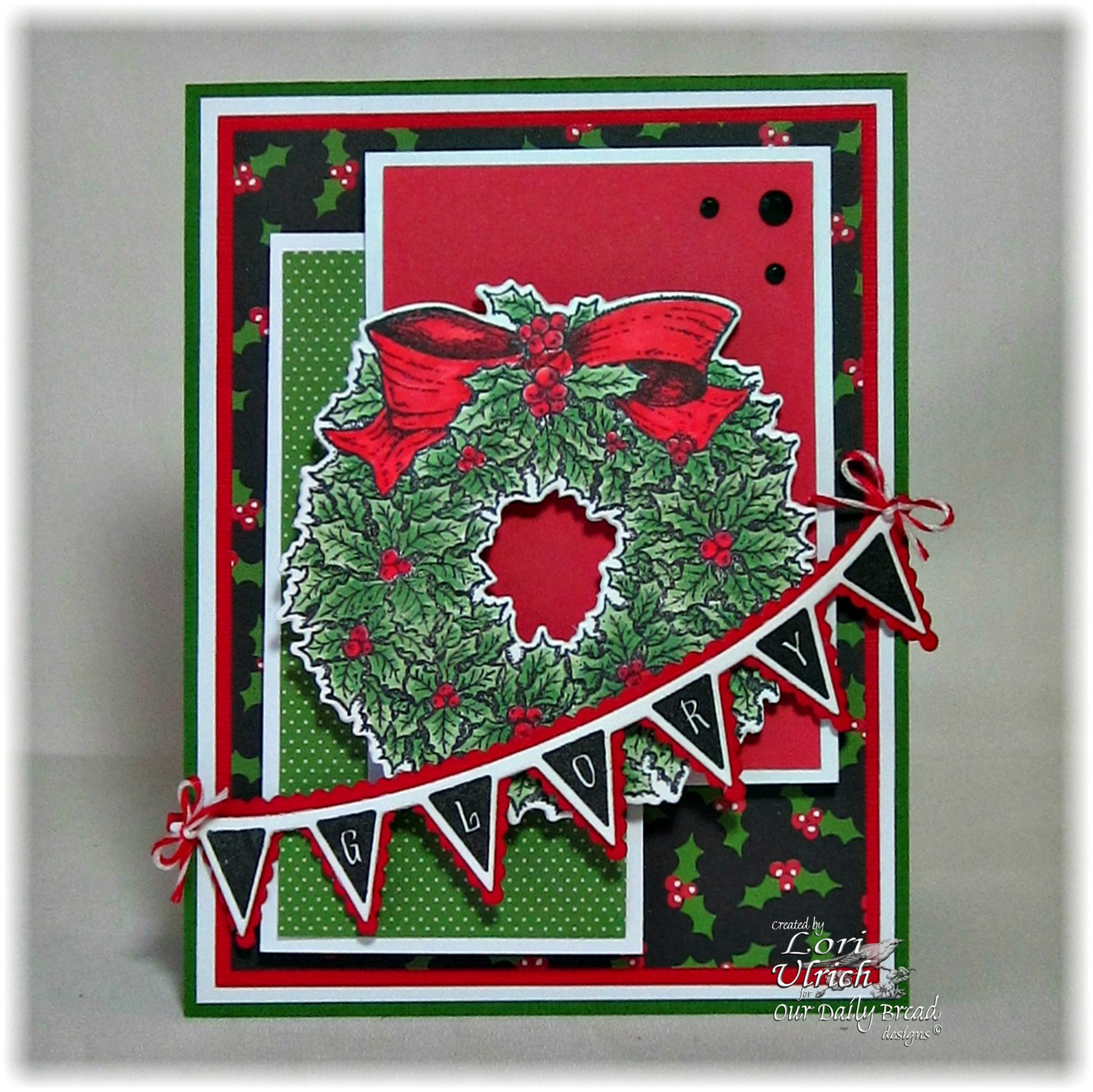 Stamps - Our Daily Bread Designs Christmas Pennant Row, Holly Wreath, ODBD Custom Holly Wreath Die, ODBD Custom Pennant Row Die
