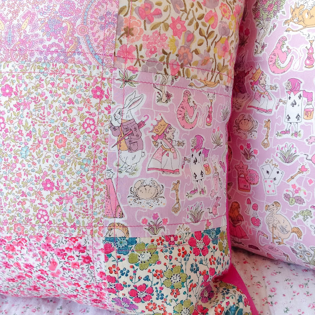Closeup Liberty Patchwork Cushion Alice in Wonderland Characters Girls Decor Interiors Gallymoggers