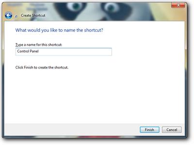 Memberi nama shortcut control panel