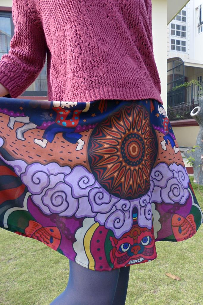 Vietnamese festival print skirt