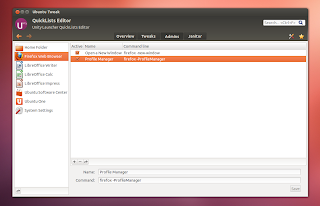 ubuntu tweak - quicklists