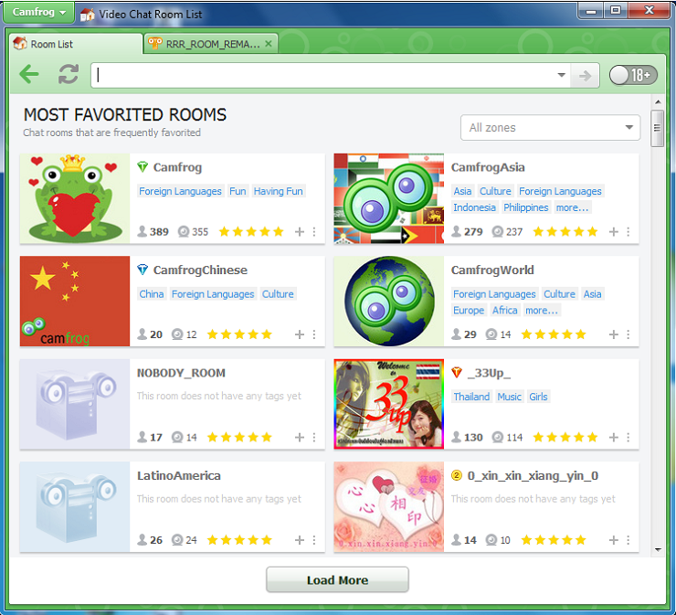 Camfrog Room Most Favorited List versi 6.8