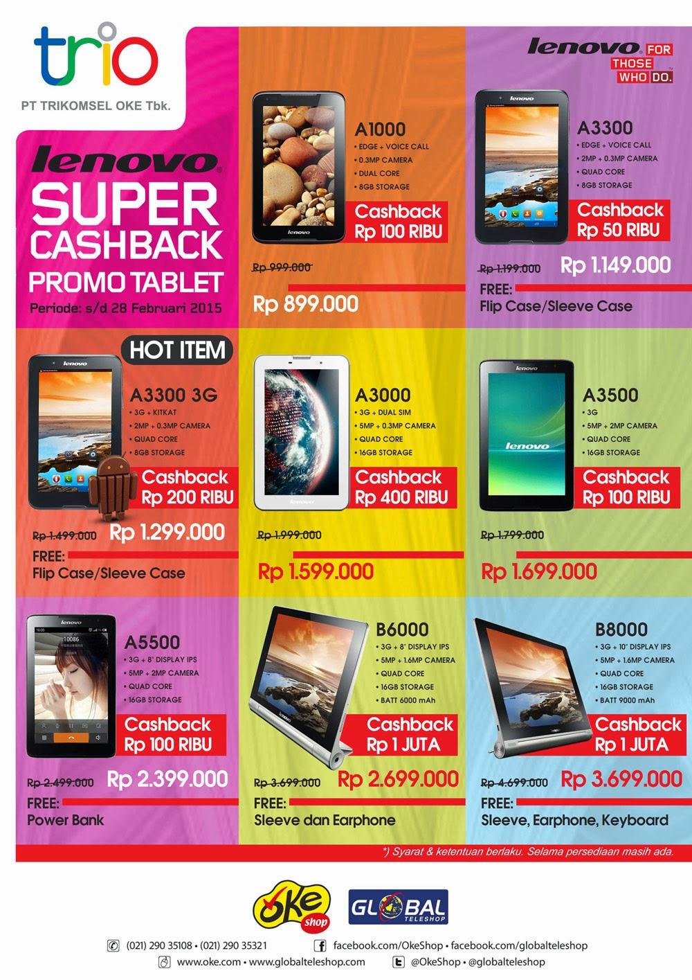 Promo Tablet Lenovo Super Cashback 2015