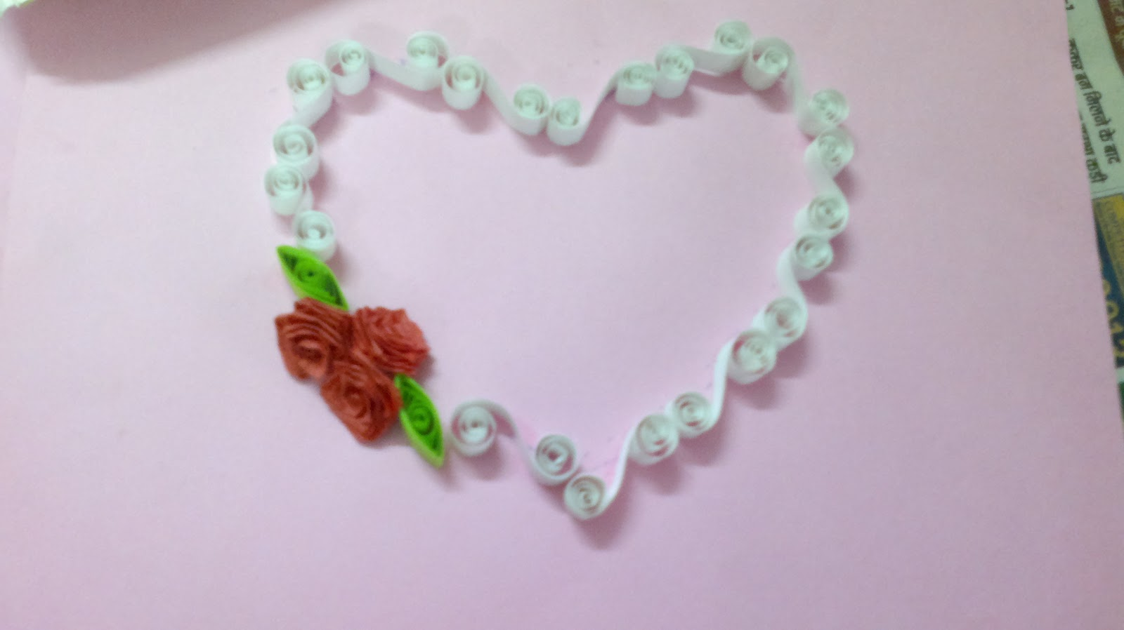 Paper Quilling Heart With Roses n Leaves made by my Students