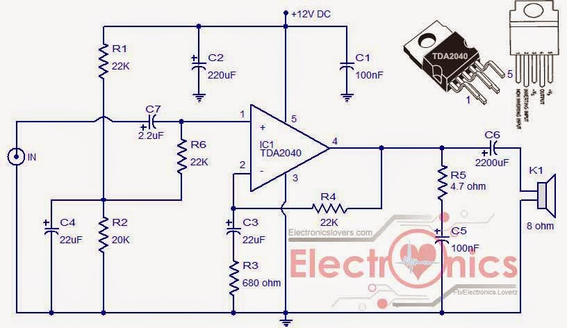 Make stereo amplifier For your car using TDA2040 - Electronics ... on car audio install diagrams, crossover amplifier diagram, car amplifier install diagram, amplifier connection diagram, audio car stereo diagram, car stereo installation, car stereo hook up diagram, guitar amplifier diagram, car stereo connector diagram, 4 channel car amplifier diagram, bose amplifier wiring diagram, car stereo schematics, car stereo speakers, booster amplifier diagram,