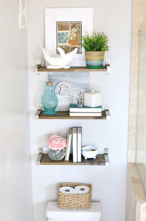 bathroom shelves over