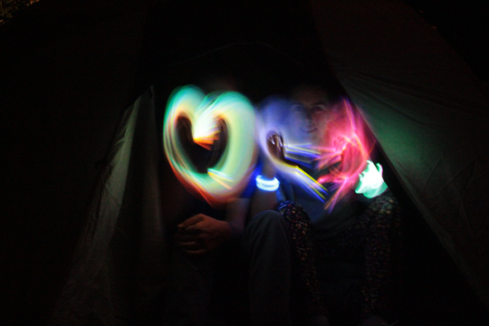 little hearts light painting