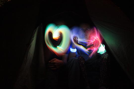 little hearts light painting
