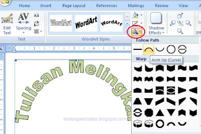 Cara buat tulisan melingkar bergelombang di msword