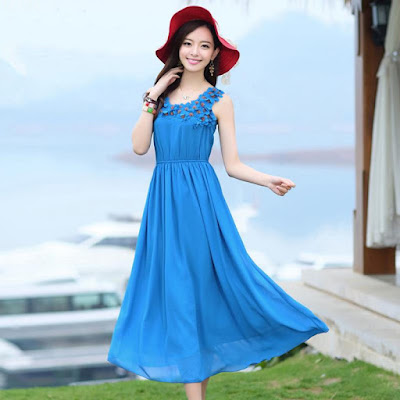 Model Long Dress Korea Cantik Bahan Sifon Biru