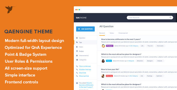 Question and Answer WordPress Theme QAEngine