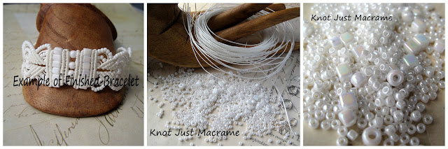 White rainbow beads and cord kit for micro macrame