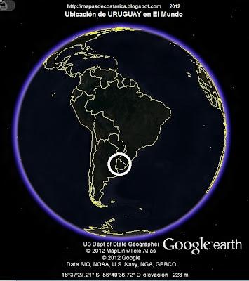 Ubicación de URUGUAY en El Mundo, Google Earth, vista nocturna