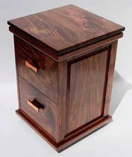 two-drawer walnut wood file cabinet