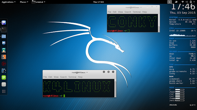 Kali Linux 2.0 install and config conky