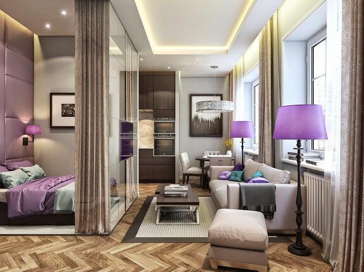 desain interior berwarna ungu