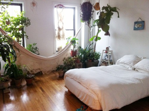 Dreamy Bohemian Bedroom Complete With Houseplants And A Hammock